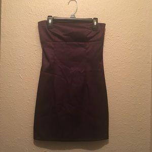 Dark purple satin mini dress